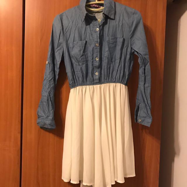 牛仔襯衫下襬絲質裙