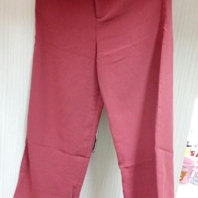 藕紅全新寬褲