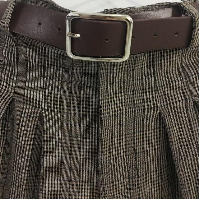 復古格紋高腰褲(附皮帶)