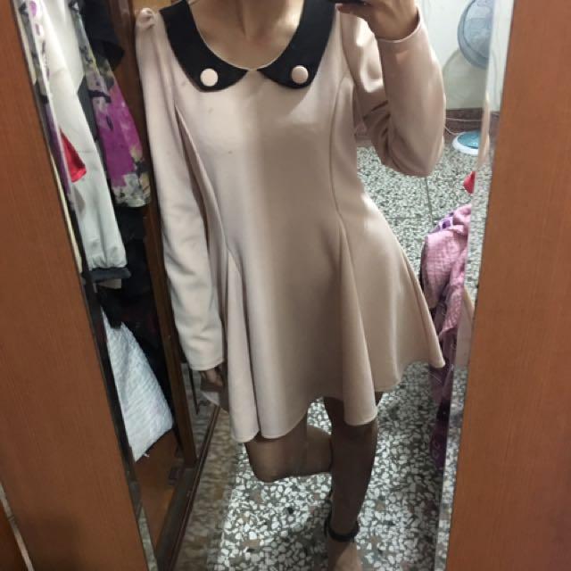 粉色厚洋裝