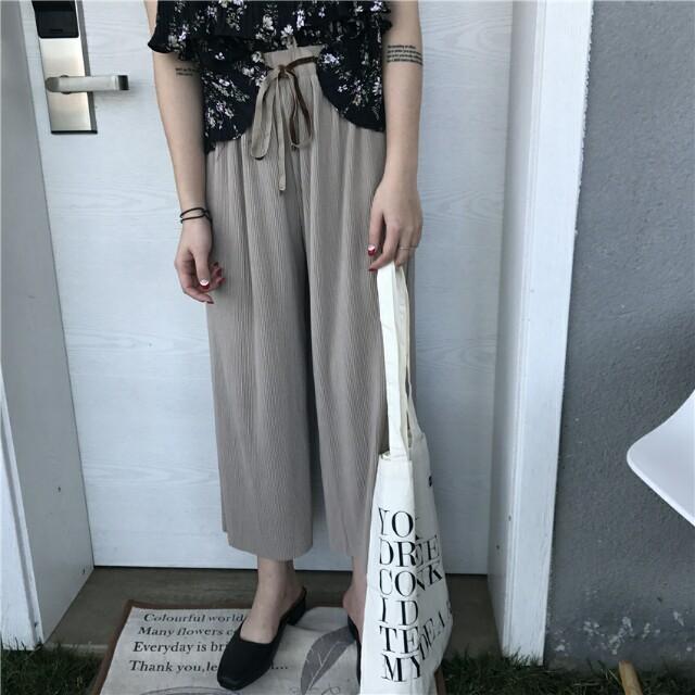 【全新】高腰寬鬆綁帶鬆緊針織寬褲-淺褐大地色