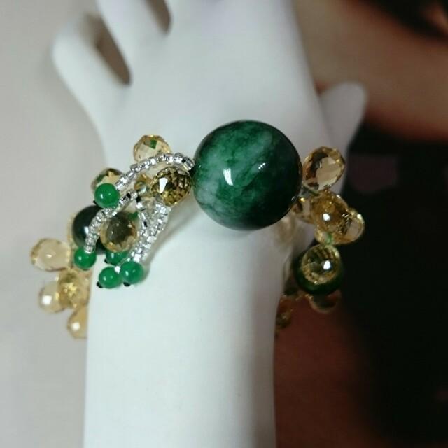 手工製作,黃水晶翠玉 手環