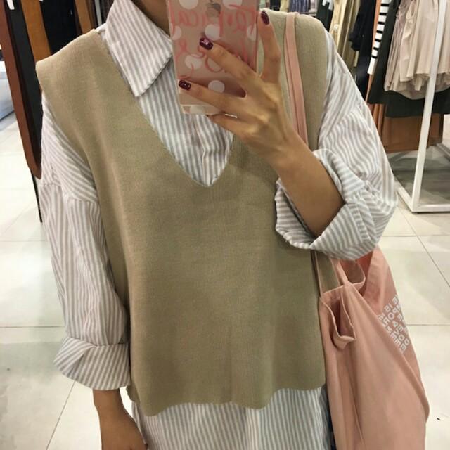 【全新】秋裝新款寬鬆條紋襯衫連衣裙 可外搭背心