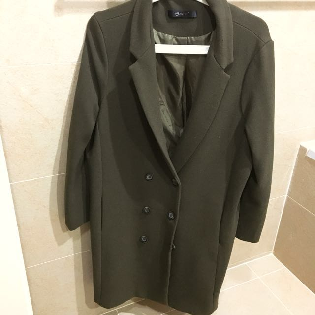 韓貨 墨綠 雙排扣西裝長大衣