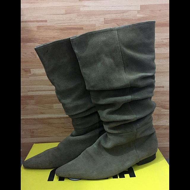 尖頭靴 長靴 二手 24 墨綠