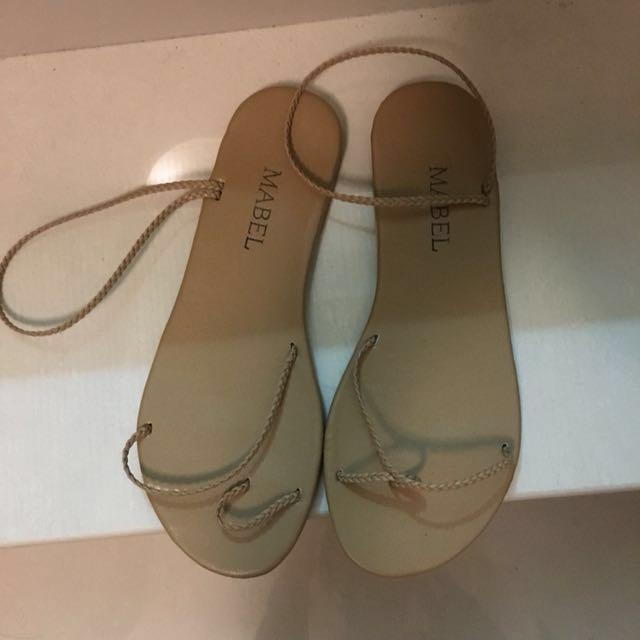 細繩 細帶 涼鞋 奶茶色