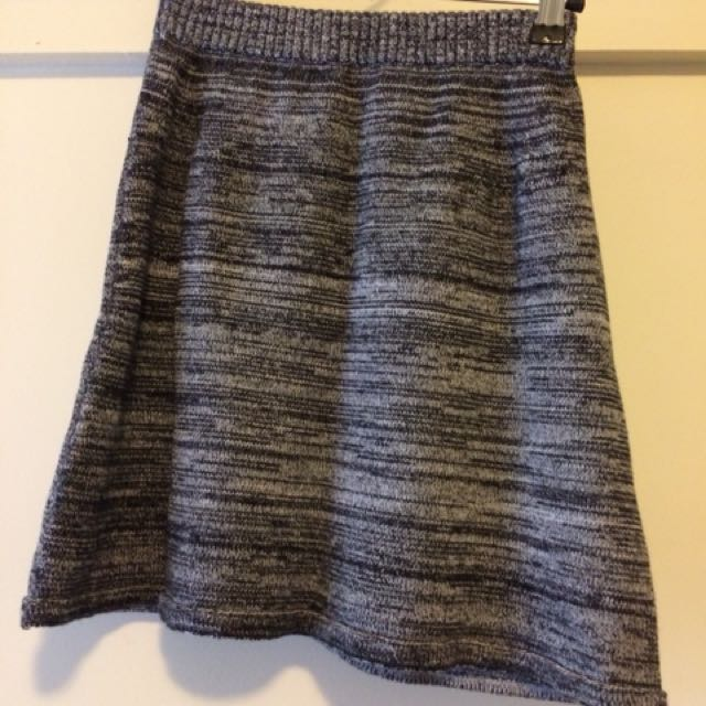 American Apparel Grey Zebra Stripe Knit Matching Skirt & Top S/M