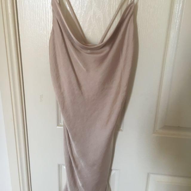 Bardot satin cowl neck slip dress size 6 champagne colour