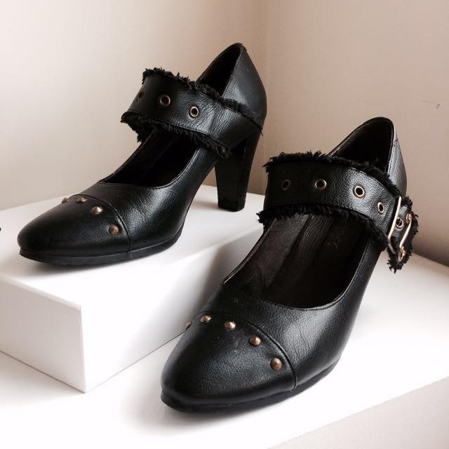 Black Stud Block Heels Size 7