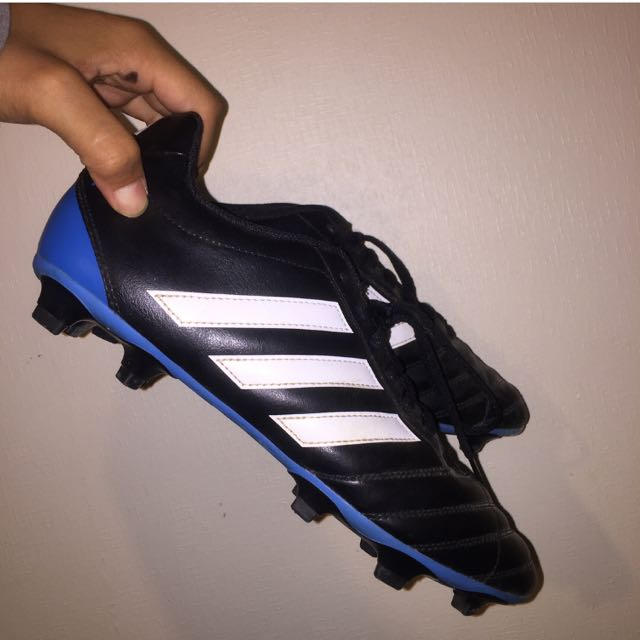 Black, White and Blue Adidas Boots.