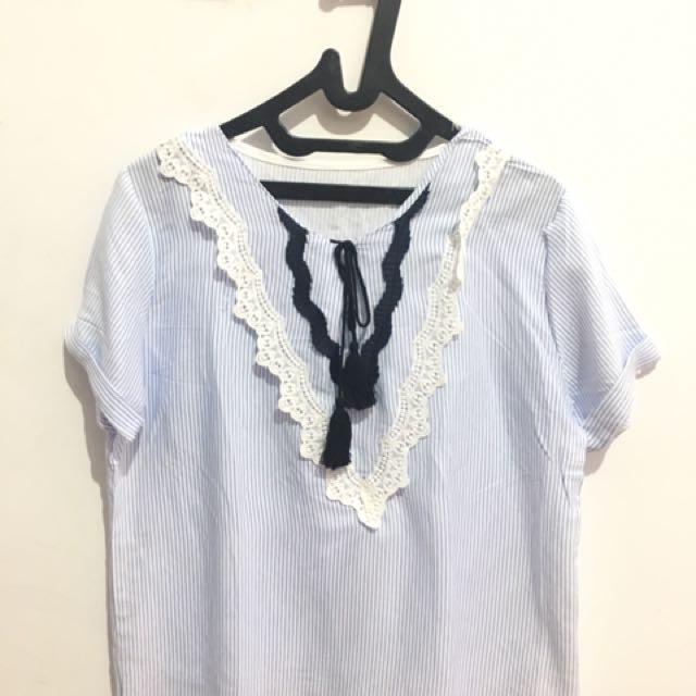 Blue tassel blouse