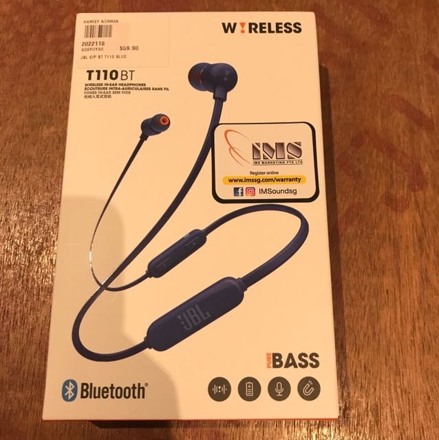 BNIB JBL T110BT wireless in-ear headphones, Electronics