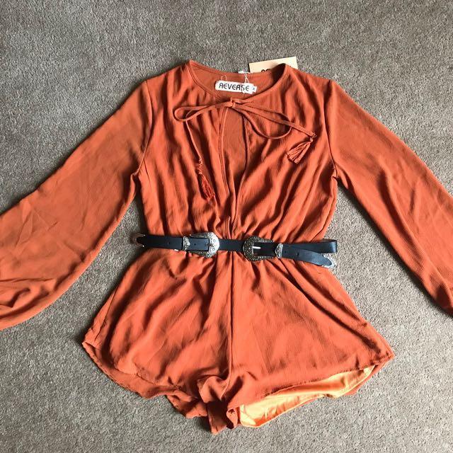 Burnt orange Playsuit BNWT