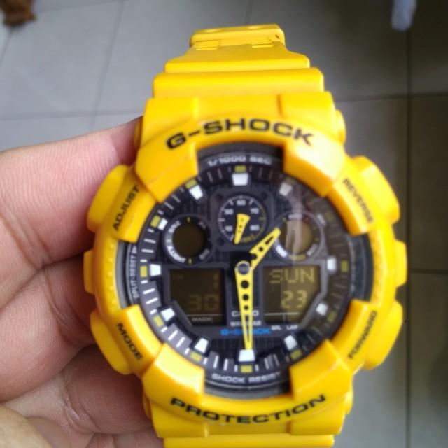 Casio G Shock Watch Ga 100 Yellow Men S Fashion Watches On