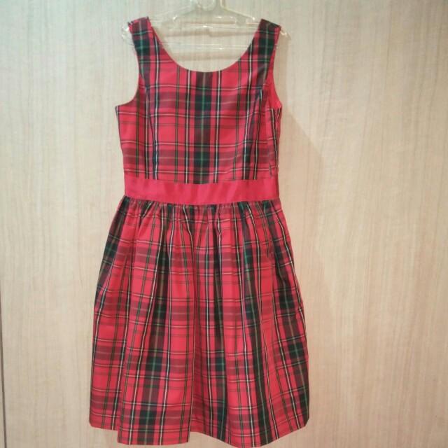 Chaps Red Green Gingham Dress - USA brand (Original)