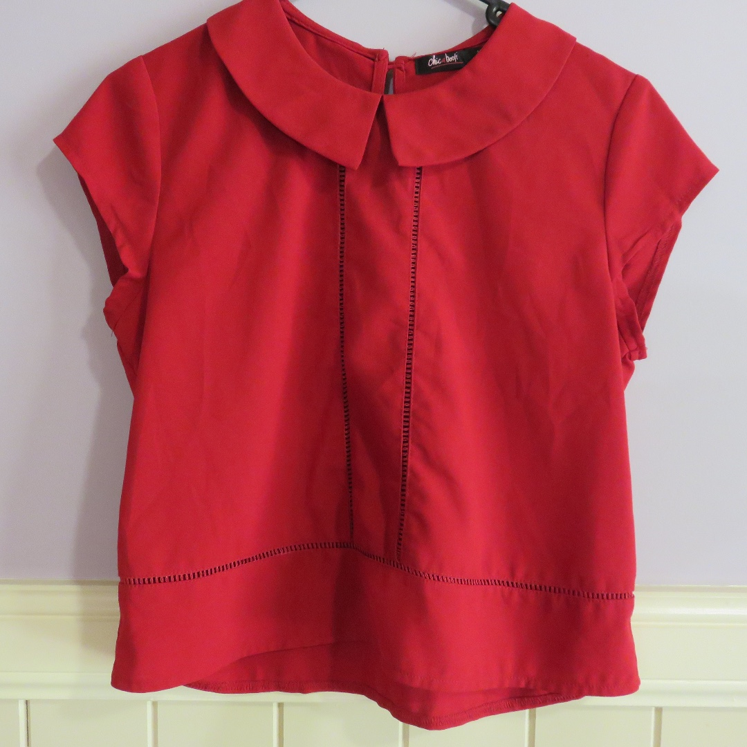 Chic-a-booti Collared Red Shirt