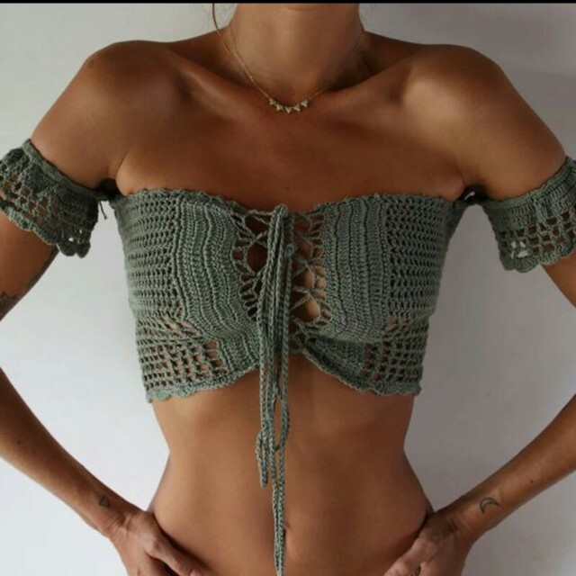 Crochet offshoulder crop top