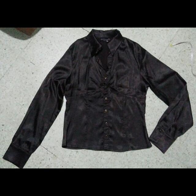 dark brown satin blouse