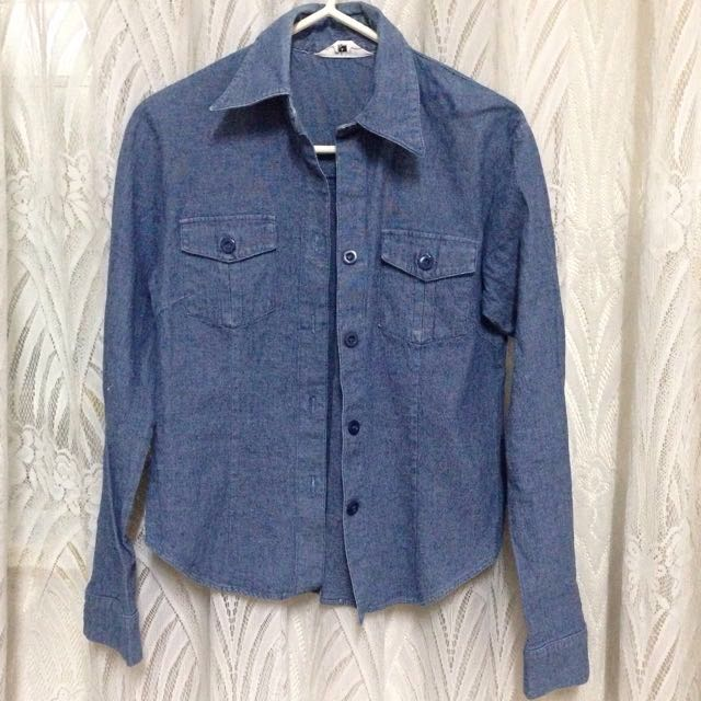 Denim Button Down Long Sleeves/jacket