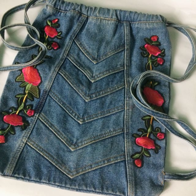 Denim Patched drawstring bag