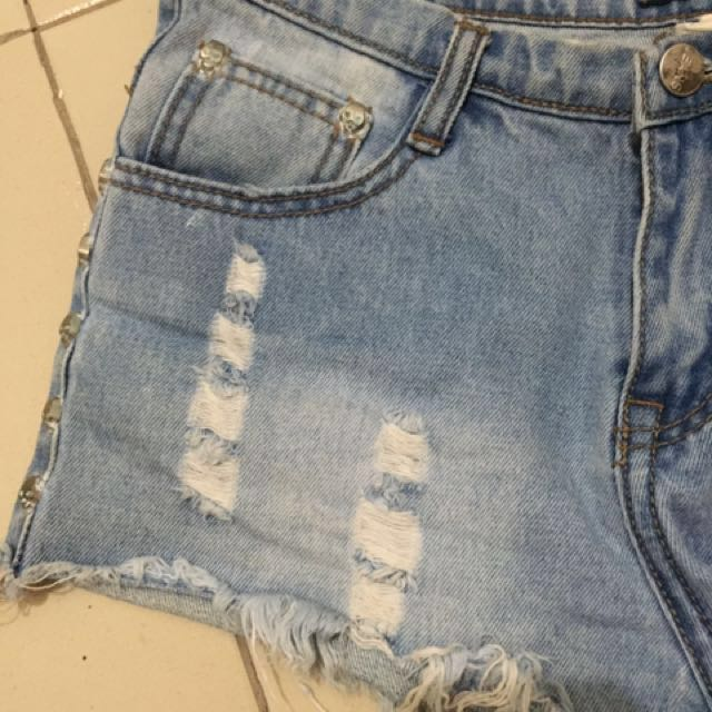 Denim shorts with skull studs *repriced