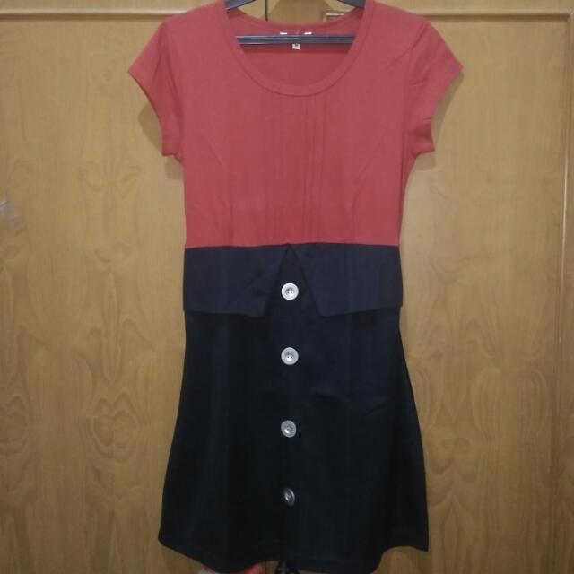 Dress Kantor Merah Hitam