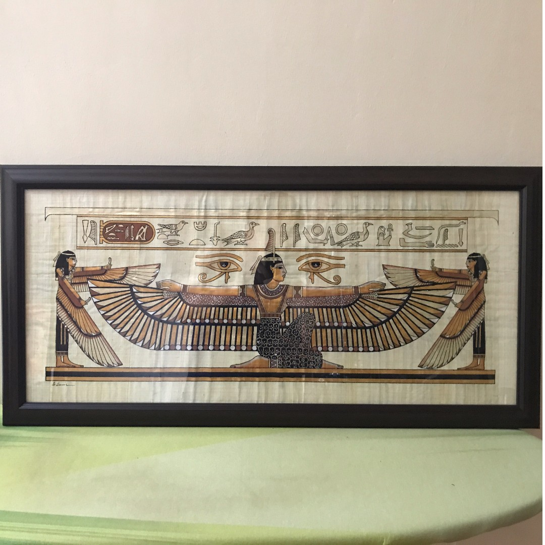 Egyptian Painting on papyrus paper in frame, Design & Craft, Art ...