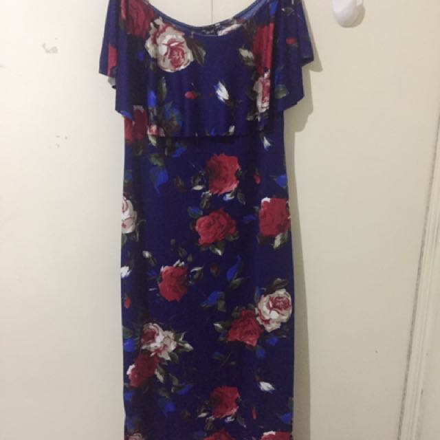 Floral off the shoulder dress (plus size)