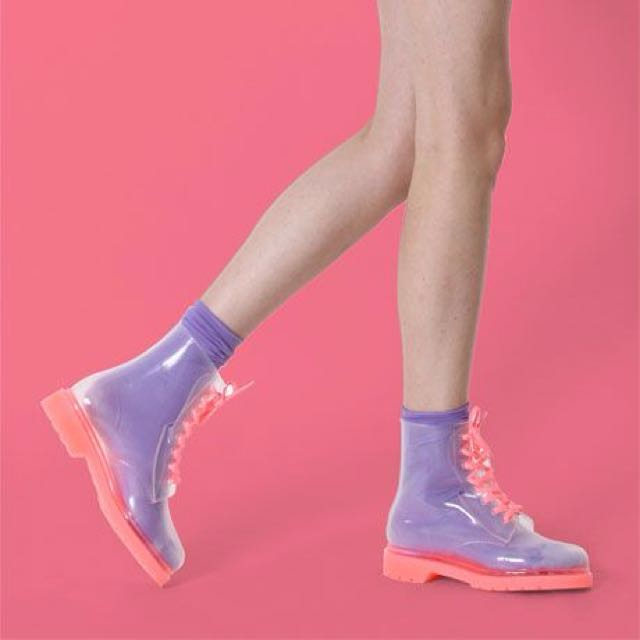 Flouro pink clear jelly boots