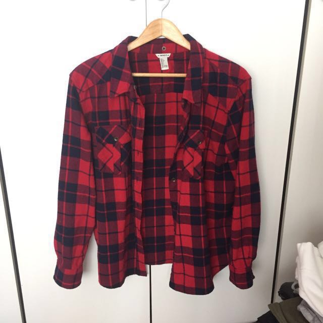 Forever 21 cozy red flannel oversized