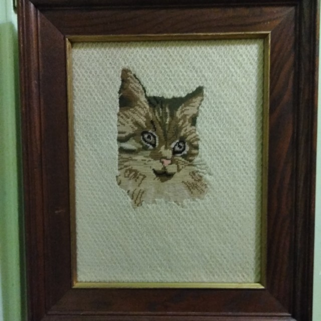 Framed Wall Picture Of Kitty Cat 11x14