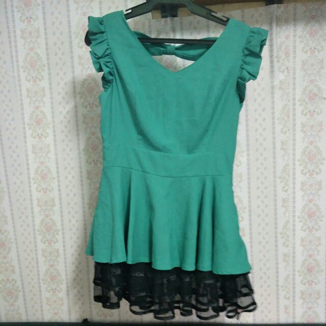 Green Ribbon-Back dress