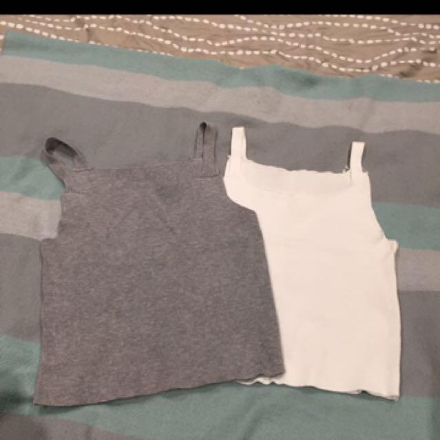 Grey/White Tank top (2 pieces)