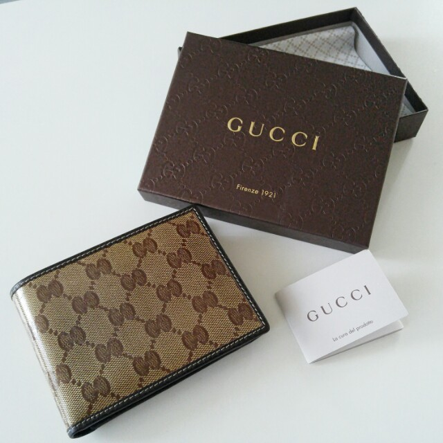 Authentic GUCCI men's trifold wallet (Non-scratchable material)