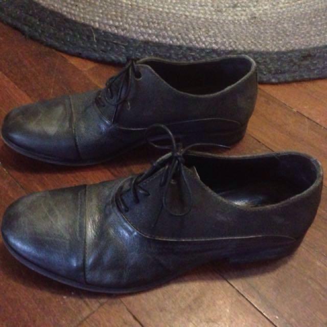 Gunmetal grey Diesel leather shoes 42