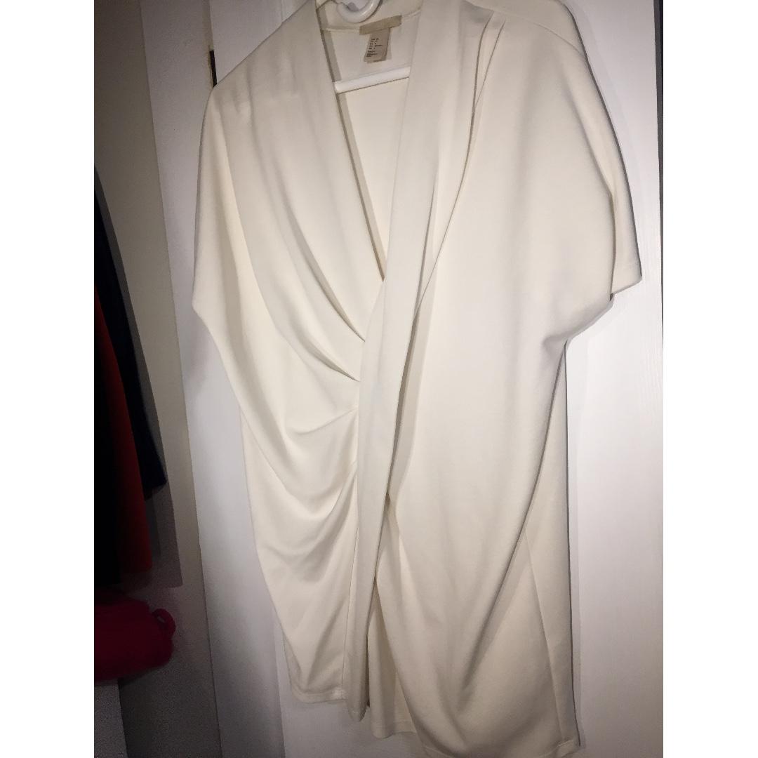 H & M White Drape Dress (Size 4)