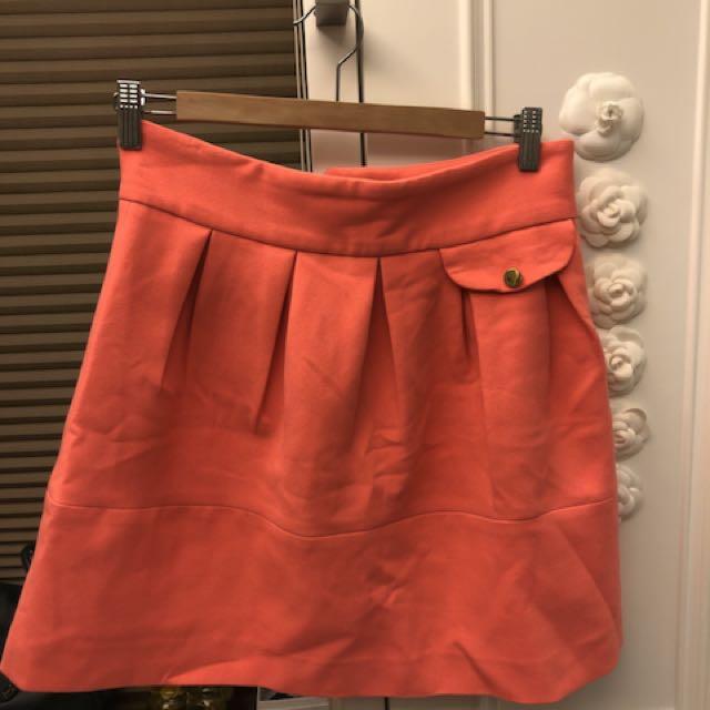 H&M 橘紅色棉質短裙