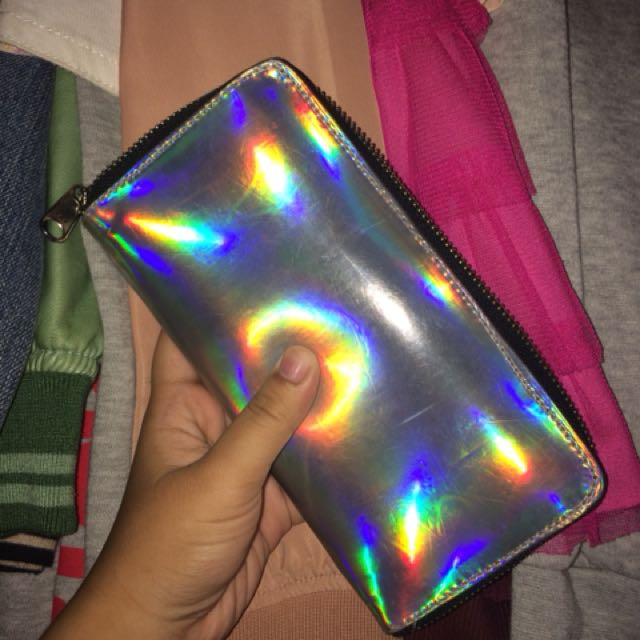 Holographic Silver Long Wallet