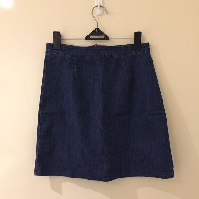 Korean washed A-line denim skirt