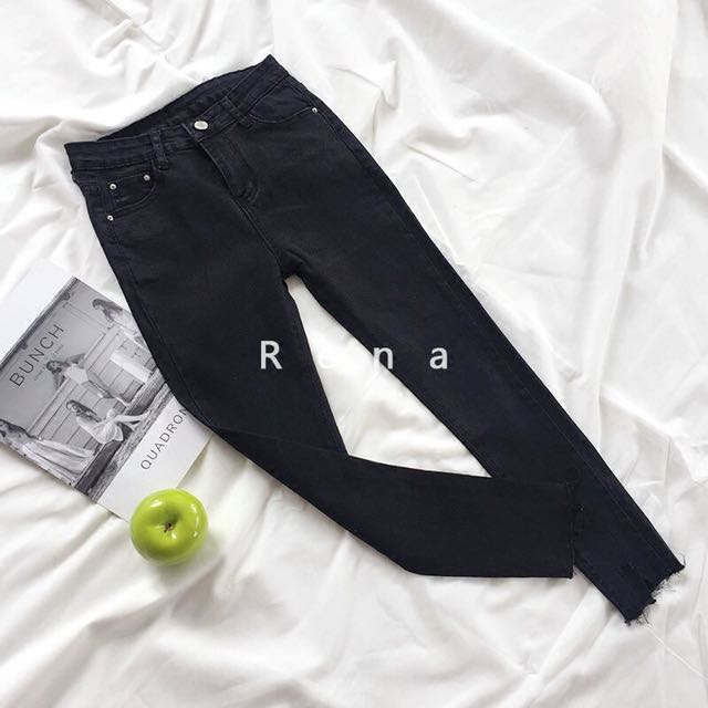 Korean-Style Black jeans (with randomly cutting ankles)