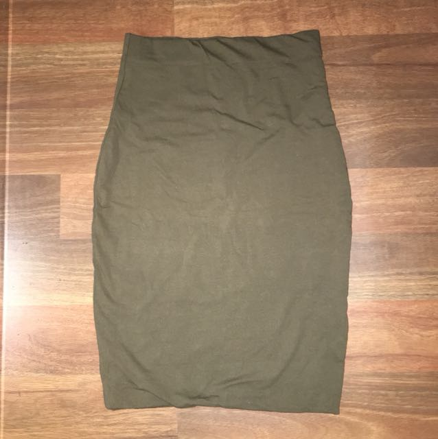 Luck and trouble khaki size 6 skirt