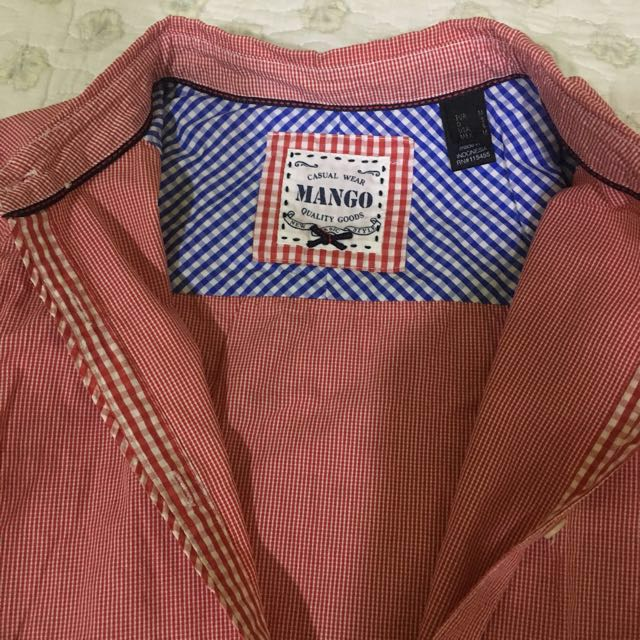 Mango Red Checkered Blouse
