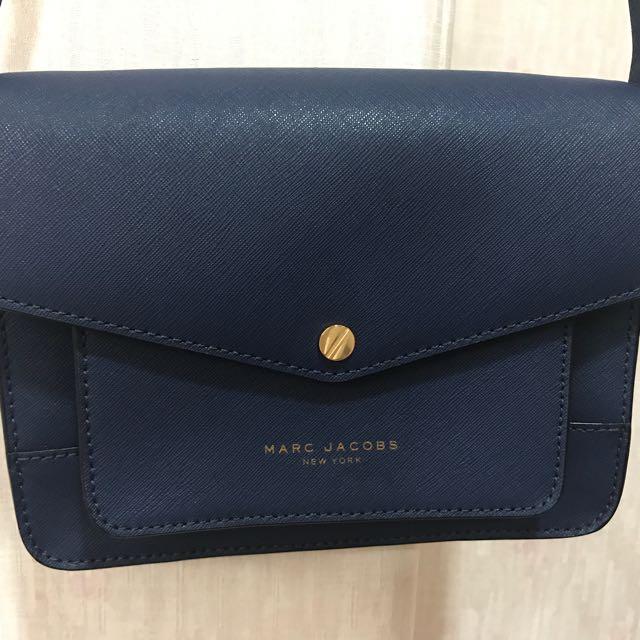 Marc Jacobs深藍色斜紋側背包/手提包