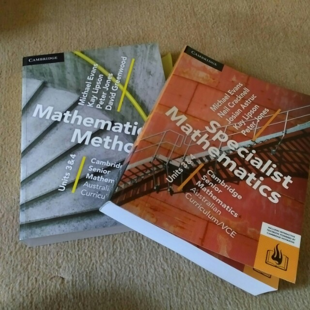 Brand New VCE Maths Methods and Specialist Maths textbook and notes clearance