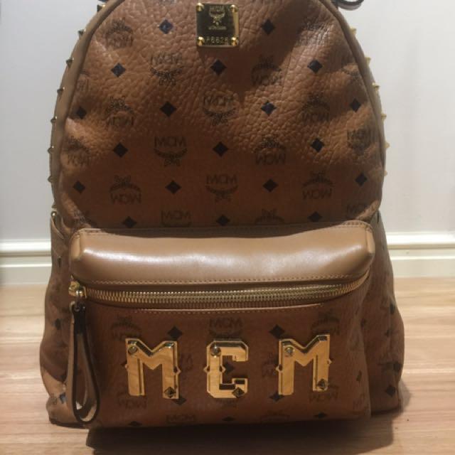 MCM Logo Studded Backpack