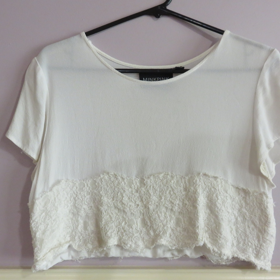 MinkPink White Lace Top