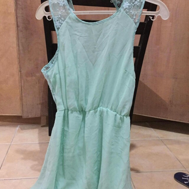 Mint Green Sexy Back Lacy Dress