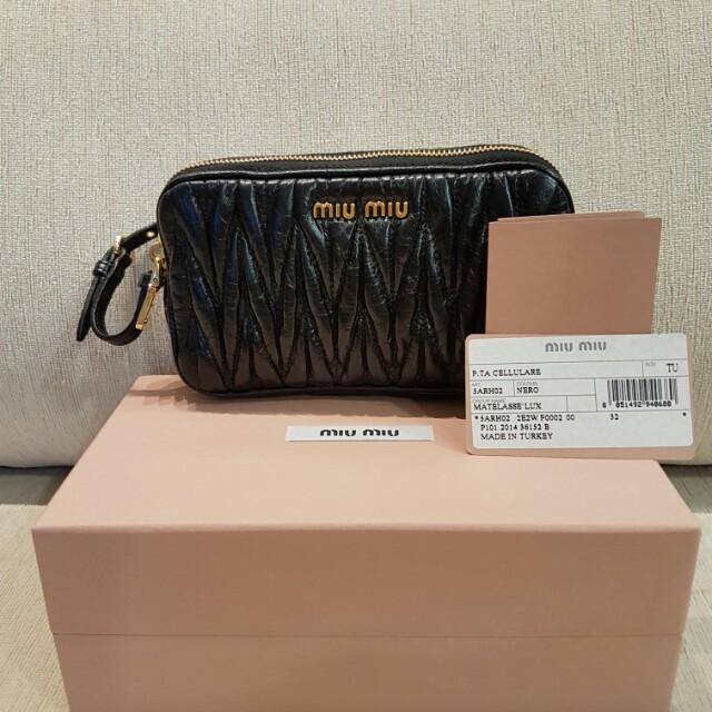 c75faf9f72e Miu Miu Matelasse Lux Small Bag Clutch Pouch in Nero black