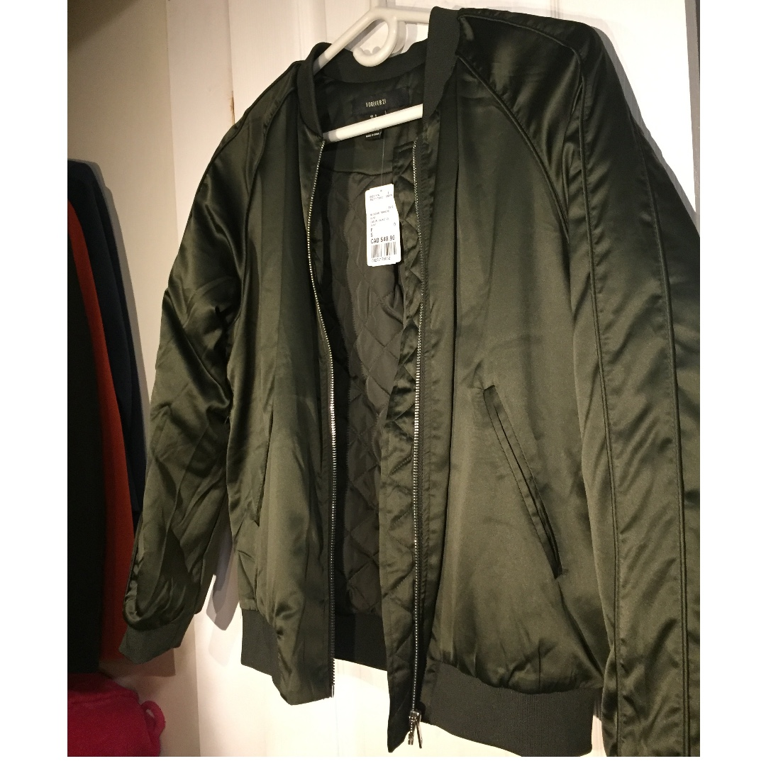 *New w/ Tags* Forever 21 Green Bomber Jacket (Size Small)