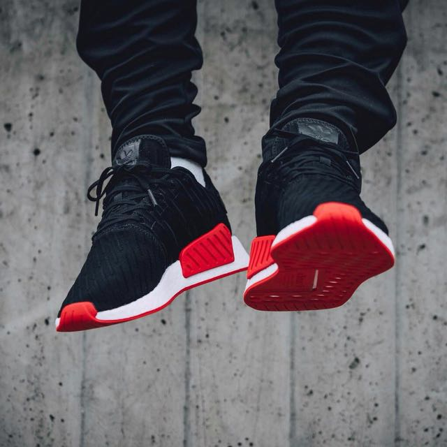 088983c419258 Adidas NMD R2 Primeknit  Core Black Core Red